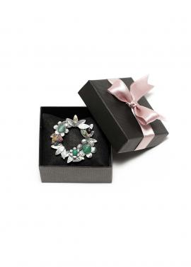 Brosa vintage cu pietre smarald
