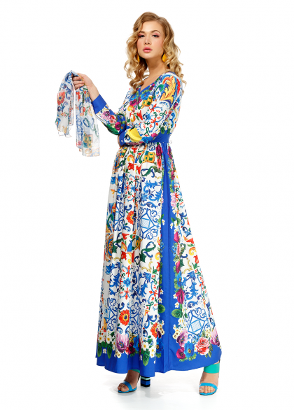 Rochie Lunga, En Coeur cu Imprimeu Floral