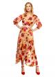 Rochie Midi Eleganta, Nude cu Imprimeu Floral