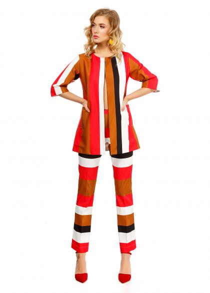 Costum Elegant cu Imprimeu in Dungi