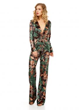 Pantaloni Lungi Din Catifea Cu Imprimeu Floral