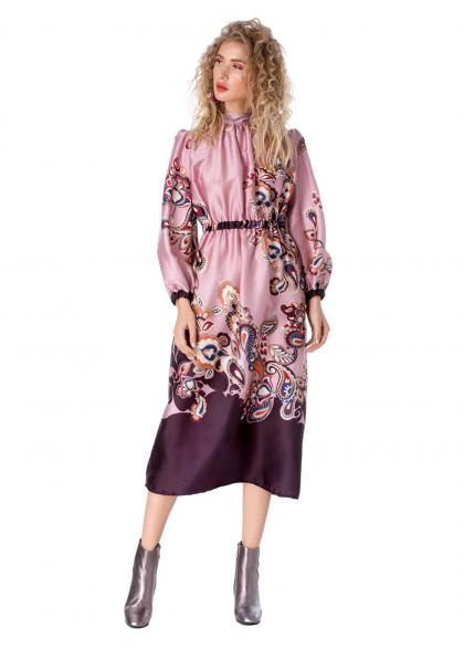 Rochie Eleganta cu Imprimeu Floral si Maneci Lungi