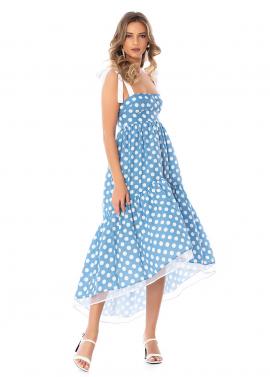 Rochie Asimetrica Bleu cu Buline