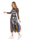 Rochie cu Maneci Lungi din Plasa si Tul Imprimat