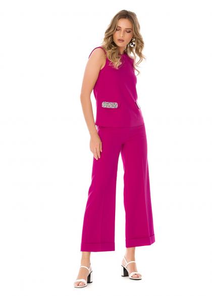Costum Elegant cu Pantaloni Culottes