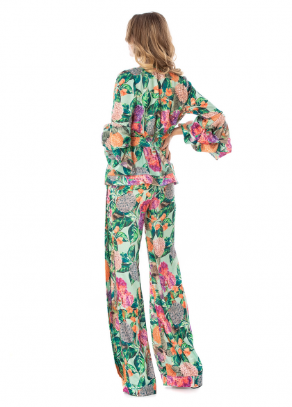 Pantaloni cu Imprimeu Floral si Buzunare