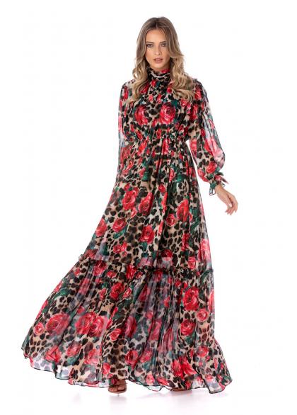 Rochie Lunga Eleganta din Voal Imprimat