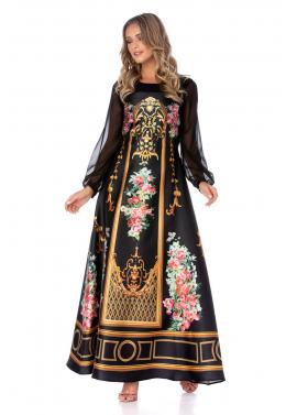 Rochie Neagra Eleganta cu Maneci din Voal