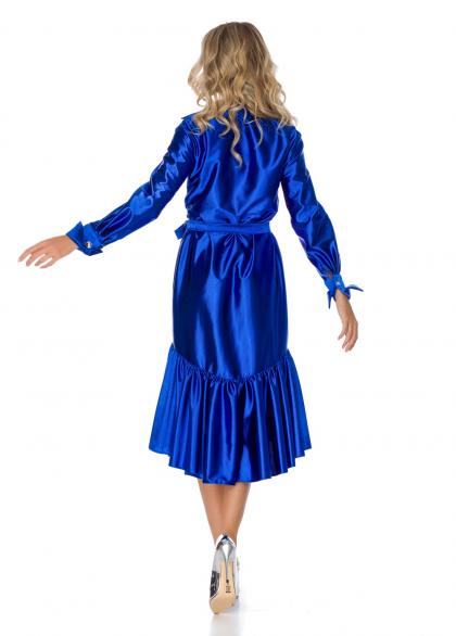 Rochie Albastru Metalic cu Guler Inalt