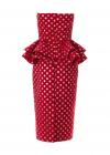 Costum din Jacard Rosu cu Buline Aurii