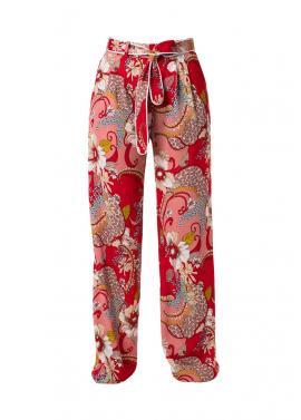Pantaloni Cu Imprimeu Floral Si Cordon Ripsat