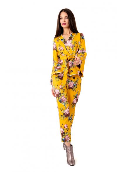 Costum Elegant din Tafta Imprimata