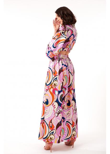 Top Cu Maneci Lungi si Imprimeu Multicolor