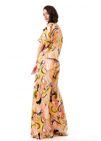 Costum cu Pantaloni si Imprimeu Multicolor