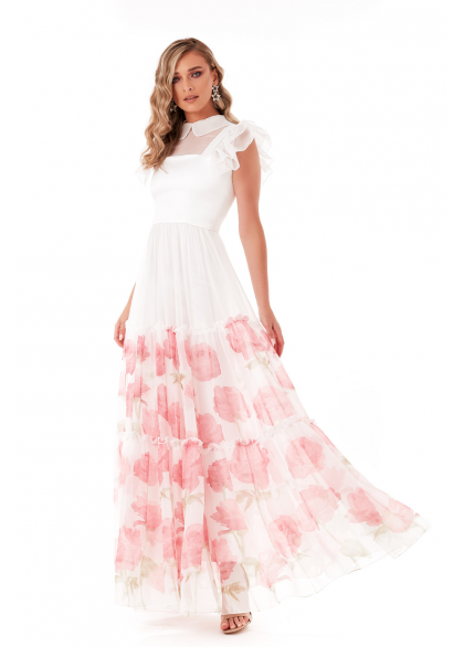 Rochie Lunga Eleganta din Voal cu Imprimeu Floral